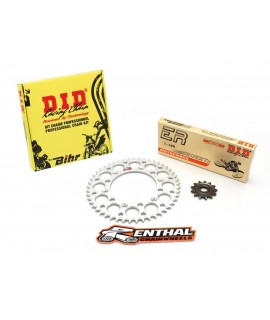 Kit chaîne D.I.D/RENTHAL 520 type ERT2 13/48 (couronne ultra-light anti-boue) Yamaha YZ125