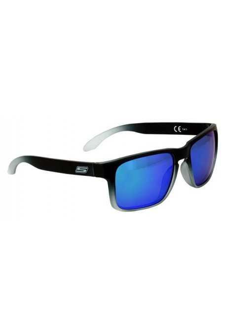 Lunettes De Soleil Noire Mat Nuancé Gris - Verres Miroir Bleu/Reflets vert Cat. 3 - CE 100% UV Protection