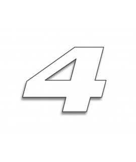 Numéro de course 4 BLACKBIRD 20x25cm blanc