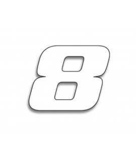 Numéro de course 8 BLACKBIRD 20x25cm blanc