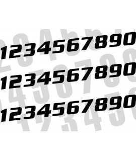 Kit numéros de course BLACKBIRD 0 à 9 200x250mm noir