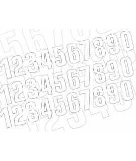 Numéro de course 8 BLACKBIRD 16x7,5cm blanc