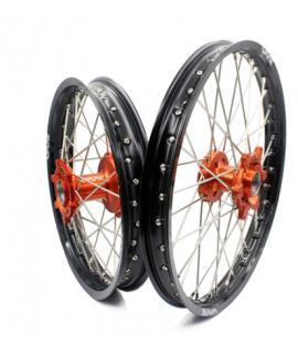 """paire VMX 85 SX 13-20 orange / noir petite roue (17"""" et 14"""")"""