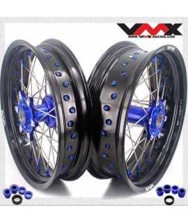 paire VMX SuperMotard HVA TC, FC, TE et FE 14-21, KTM SX/F EXC/F 03-21 bleu noir bleu
