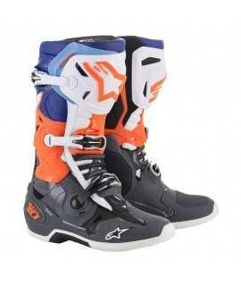 Bottes Alpinestars Tech 10 Gris Clair/ Orange Fluo/ Bleu/ Blanc