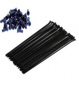 """kit 36 rayons arriere YAMAHA YZ/F 19"""" noir  ecrou bleu"""